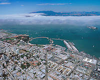 aerial photograph Columbus Avenue aquatic park North Beach neighborhood San Francisco California