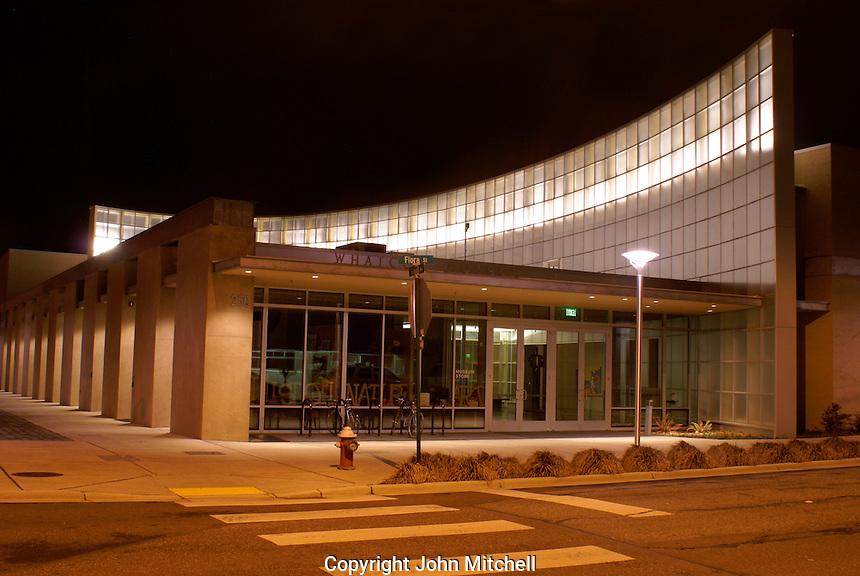 The Lightcatcher building at night, Whatcom County Museum,  Bellingham, Washington, USA...