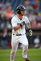 Akron RubberDucks designated hitter Mike Papi (38) runs to first base during a game against the Richmond Flying Squirrels on July 26, 2016 at Canal Park in Akron, Ohio .  Richmond defeated Akron 10-4.  (Mike Janes/Four Seam Images)