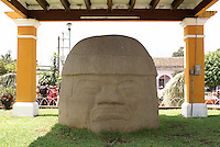 Colossal Olmec head in the main square of Santiago Tuxtla, Veracruz, Mexico. Known as the Cobata head, this is the largest known Olmec head.