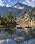 Wallowa-Whitman Nat'l Forest  <br /> Eagle Cap reflecting on Mirror Lake, in the Lake Basin of the Eagle Cap Wilderness