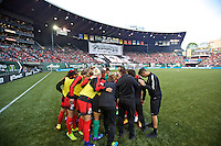 Portland, Oregon - Sunday April 17, 2016: The Portland Thorns FC huddle. The Portland Thorns play the Orlando Pride during a regular season NWSL match at Providence Park.