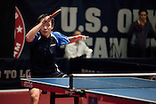 February 11, 2012. Cary, NC.. Timothy Wang returns a serve in his first game of the day versus Barney Reed.. The US Olympic Table Tennis Trials were held Feb. 10-12 at Bond Park in Cary. Winners front he trials will return in April to compete in the continental trials with Canada to set the teams for the London Olympics this summer.