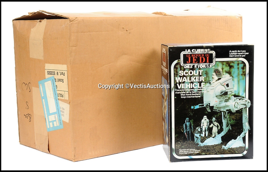 BNPS.co.uk (01202 558833)<br /> Pic: Vectis/BNPS<br /> <br /> Palitoy/General Mills/Meccano Star Wars Return Of The Jedi Trade sold for &pound;1,800.<br /> <br /> A tiny plastic rocket from a Star Wars action figure has sold for almost &pound;2,000 as part of a huge &pound;160,000 sale of rare toys relating to the film franchise.<br /> <br /> The red missile measures just 28mm long and was attached to the back of a prototype figure of bounty hunter Boba Fett.<br /> <br /> A complete prototype Boba Fett can sell for &pound;13,000 but thanks to a letter of authentication and grading by the Action Figure Authority (AFA), the small rocket made &pound;1,920 by itself at auction.<br /> <br /> It was one of almost 700 Star Wars lots that sold for &pound;160,000, with many toys that originally sold for &pound;1.50 achieving four-figure sums.<br /> <br /> With the release of Star Wars:The Force Awakens imminent, interest in memorabilia from the franchise has never been higher.