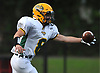 James Gillespie #8 of Lynbrook corrals a pass with one hand during a Nassau County Conference III varsity football game against host South Side High School in Rockville Centre on Thursday, Sept. 27, 2018. South Side won by a score of 28-13.