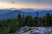 Sunset from Middle Sister Mountain in Albany, New Hampshire USA during the summer months.