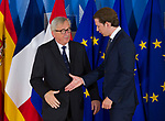 Belgium, Brussels - June 24, 2018 -- Informal working meeting on migration and asylum issues convened by Jean-Claude JUNCKER (le), President of the European Commission, here welcoming Sebastian KURZ (ri), Federal Chancellor of Austria -- Photo © HorstWagner.eu