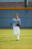 Jacob Fong (1) of Saint Anthony High School in Long Beach, California during the Baseball Factory All-America Pre-Season Tournament, powered by Under Armour, on January 14, 2018 at Sloan Park Complex in Mesa, Arizona.  (Zachary Lucy/Four Seam Images)