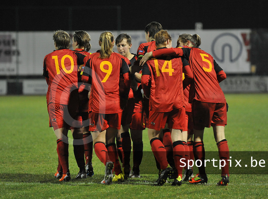 UEFA Women's Euro Qualifying group stage (Group 3) -  KFC Dessel - Armand Melis Stadion : BELGIUM -Northern Ireland ( Belgie - Noord Ierland ) : vreugde bij de belgen na de 2-1..foto DAVID CATRY / Vrouwenteam.be / Loft6.be