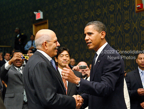 New York, NY - September 24, 2009 -- Barack Obama (right), President of the United States of America, converses with Mohamed ElBaradei, Director General of the International Atomic Energy Agency (IAEA), prior to the Security Council Summit on nuclear non-proliferation and disarmament at U.N. Headquarters in New York, New York on Thursday, September 24, 2009..Mandatory Credit: UN Photo/Mark Garten via CNP