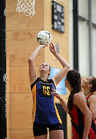 05.10.2012 Eastern's Eleanor Bird in action during the netball match between Tasman and Eastern at the Lion Foundation Netball Champs in Tauranga. Mandatory Photo Credit ©Michael Bradley.