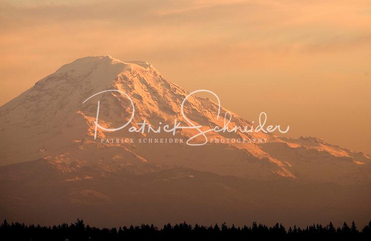 Mt. Rainier at sunset in Seattle Washington.
