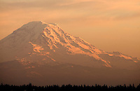 Mt. Rainier at sunset in Seattle Washington.
