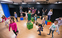 NWA Democrat-Gazette/BEN GOFF @NWABENGOFF<br /> Students learn choreography Tuesday, March 19, 2019, during the 'Broadway in Bentonville' spring break day camp at Trike Theatre in Bentonville. Kindergarten through 6th grade students develop their acting, singing and dancing skills studying a popular Broadway musical each day of the camp.