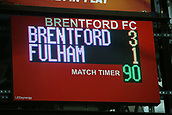 2nd December 2017, Griffen Park, Brentford, London; EFL Championship football, Brentford versus Fulham; Scoreboard after full time with Brentford defeating Fulham 3-1