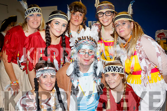 Chief Passing Water (John Scanlon) centre, is surrounded by Amy&Deirdre Finn, Patricia&Siobhan Goodwin, Shannon Maunsell-Cronin, Mary Ciepierski and Petra Werz, from the 'Captain Hook Fights Back' Pantomime staged by the Castlegregory Amateur Drama Group last Saturday night in the Community hall.
