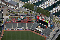 aerial photograph advertising AT&T Giants baseball stadium San Francisco, California Coca Cola Visa