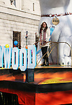 Singer Miley Cyrus and Bolt (float) and movie at the Macy's Thanksgiving Day Parade on November 27, 2008 in New York City, NY. (Photo by Sue Coflin/Max Photos)