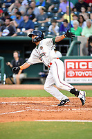 Northern Divisions center fielder Jhonny Santos (21) of the Greensboro Grasshoppers swings at a pitch during the South Atlantic League All Star Game at First National Bank Field on June 19, 2018 in Greensboro, North Carolina. The game Southern Division defeated the Northern Division 9-5. (Tony Farlow/Four Seam Images)