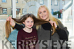 Rachel O'Connor, Boherbee, Tralee donating her hair to repunzal charity here with mom  Jacinta O'Connor at  Vogue Hair Salon on Saturday