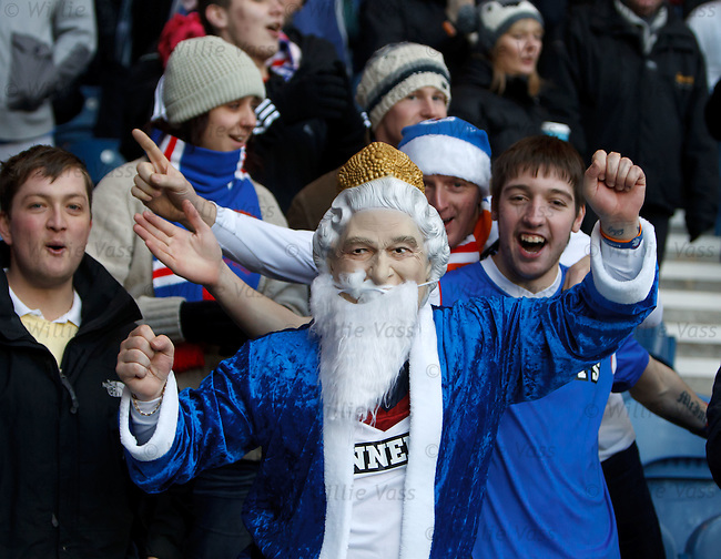 Her Brittanic Majesty doubling as Santa Claus at Ibrox