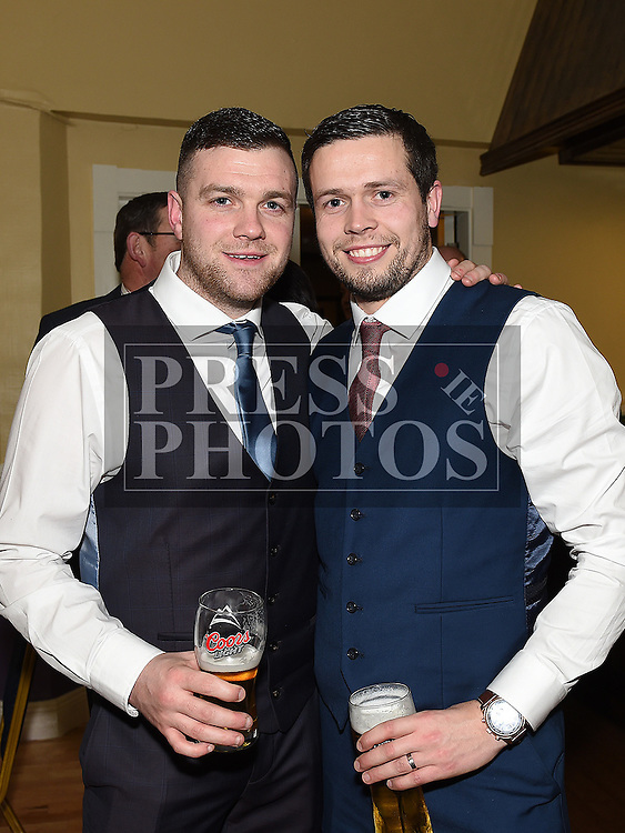 Bernard Osbourne and Oisín Magee pictured at the Naomh Fionnbarra JFC celebration and presentation night in the Grove House Dunleer. Photo:Colin Bell/pressphotos.ie