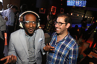Stephen Robert Morse (right) attends the Happy Groups Launch Party at the Luxe Lounge at Lucky Strike, on May 22 in New York City.