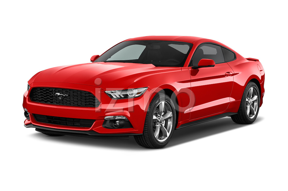 2015 Ford Mustang V6 2 Door Coupe Angular Front stock photos of front three quarter view