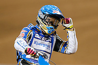JASON DOYLE (Australia) celebrates victory in an early heat during the 2016 Adrian Flux British FIM Speedway Grand Prix at Principality Stadium, Cardiff, Wales  on 9 July 2016. Photo by David Horn.
