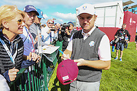 Mean face. Andy Sullivan (Team Europe) signs autograph during Thursday's Practice Round ahead of The 2016 Ryder Cup, at Hazeltine National Golf Club, Minnesota, USA.  29/09/2016. Picture: David Lloyd | Golffile.
