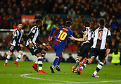 7th January 2018, Camp Nou, Barcelona, Spain; La Liga football, Barcelona versus Levante; Messi from FC Barcelona breaks bewteen 3 Levante defenders