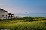 Beach club with a view of the Watch Hill Lighthouse, Watch Hill, RI, USA