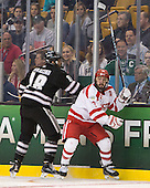 Nick Saracino (PC - 18), Cason Hohmann (BU - 7) - The Providence College Friars defeated the Boston University Terriers 4-3 to win the national championship in the Frozen Four final at TD Garden on Saturday, April 11, 2015, in Boston, Massachusetts.