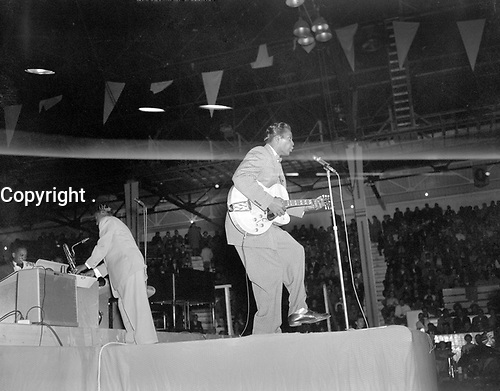 "Chuck Berry performing at the Edmonton Gardens, Alberta, as part of ""The Biggest Show of Stars For '57""<br /> <br /> PHOTO : Richard G. Proctor Photography"