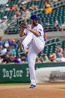 Iowa Cubs pitcher Spencer Patton (45) delivers a pitch during a game against the Colorado Springs Sky Sox on September 4, 2016 at Principal Park in Des Moines, Iowa. Iowa defeated Colorado Springs 5-1. (Brad Krause/Four Seam Images)