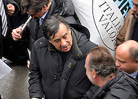 Termini Imerese,Sicily,  strike of workers in Termini Imerese, the seat of one of Fiat factory which is about to close, Leoluca Orlando during the protest.<br /> Termini Imerese sciopero indetto dalla Fiom, Leoluca Orlando partecipa alla manifestazione.