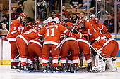 The Redhawks huddle around their goal prior to the start of the game. The Boston College Eagles defeated the Miami University Redhawks 4-0 in the 2007 NCAA Northeast Regional Final on Sunday, March 25, 2007 at the Verizon Wireless Arena in Manchester, New Hampshire.