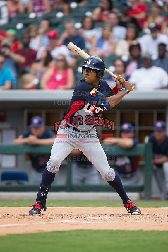Buddy Reed (3) of the US Collegiate National Team at bat against the Cuban National Team at BB&T BallPark on July 4, 2015 in Charlotte, North Carolina.  The United State Collegiate National Team defeated the Cuban National Team 11-1.  (Brian Westerholt/Four Seam Images)