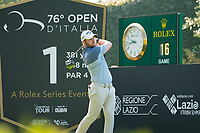 Jordan Smith (ENG) in action on the 1st hole during the final round of the 76 Open D'Italia, Olgiata Golf Club, Rome, Rome, Italy. 13/10/19.<br /> Picture Stefano Di Maria / Golffile.ie<br /> <br /> All photo usage must carry mandatory copyright credit (© Golffile | Stefano Di Maria)