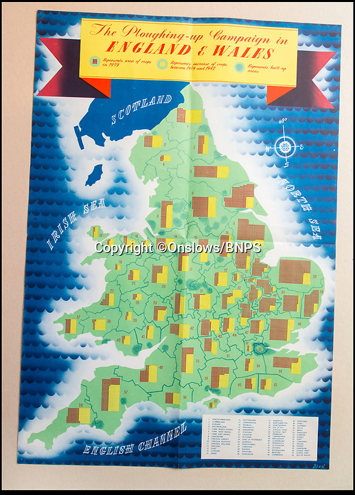 BNPS.co.uk (01202 558833)<br /> Pic: Onslows/BNPS<br /> <br /> This poster reveals area by area the increase in land under the plough during wartime (in yellow).<br /> <br /> Home Front pamphlets bring back to life the fascinating spade work behind wartime Britain's Dig For Victory campaign.<br /> <br /> The fascinating set of posters, pamphlets and documents issued by the Ministery of Agriculture during the famous 'Dig For Victory' campaign have been unearthed.<br /> <br /> The set of more than 30 documents includes posters which were distributed by the Ministry of Agriculture and Fisheries to parishes across the land to encourage the British public to produce their own food and free up shipping for war materials.<br /> <br /> They were discovered in the store room of an old agricultural research organisation in Llanishen, just north of Cardiff, by a scientist in 1975 who has kept them in a box in his study since then.<br /> <br /> Now, the vendor, who wishes to remain anonymous, has put the documents on the market and they are tipped to sell for £2,000.