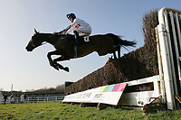 Kitchen Loan ridden by Sam Jones jumps during the SVS Securities Preferred Partnership For IFAs Novices Handicap