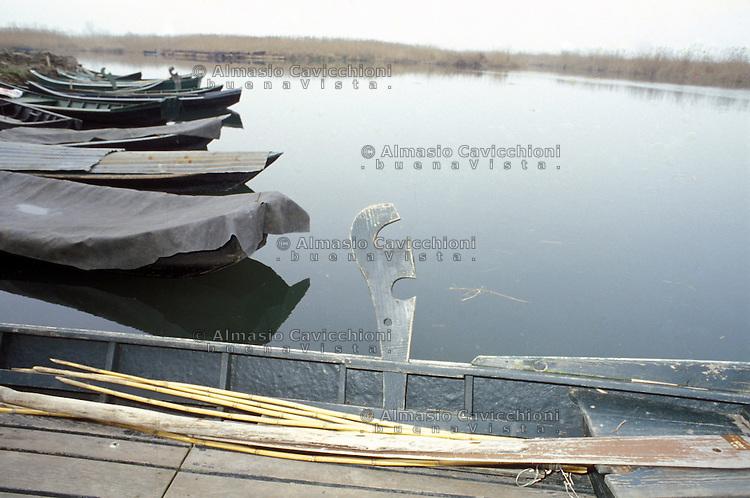 Curtatone (Mantova), Localit&agrave; le Grazie, antiche barche sul lago Superiore.<br /> Curtatone (Mantua), Le Grazie, antique boats on the Upper Lake.