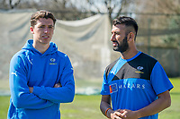 Picture by Allan McKenzie/SWpix.com - 05/04/2018 - Cricket - Yorkshire County Cricket Club Training - Headingley Cricket Ground, Leeds, England - Matthew Fisher and Cheteshawar Pujara.