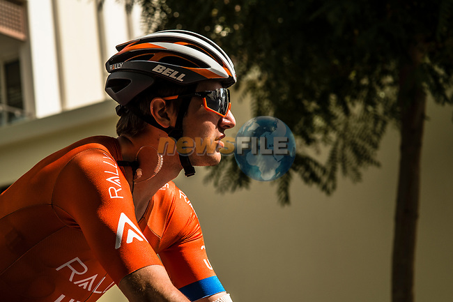 Adam de Vos (CAN) Rally-UHC before Stage 6 of the 10th Tour of Oman 2019, running 135.5km from Al Mouj Muscat to Matrah Corniche, Oman. 21st February 2019.<br /> Picture: ASO/Kåre Dehlie Thorstad | Cyclefile<br /> All photos usage must carry mandatory copyright credit (© Cyclefile | ASO/Kåre Dehlie Thorstad)