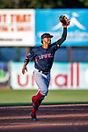 24 August 2019: Lowell Spinners shortstop Antoni Flores in action against the Vermont Lake Monsters at Centennial Field in Burlington, Vermont. The Spinners rallied in the 9th inning to overcome a 2-1 deficit and defeat the Lake Monsters 3-2 in NY Penn League play. Mandatory Credit: Ed Wolfstein Photo *** RAW (NEF) Image File Available ***