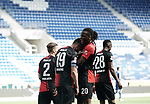 0:2 Tor, Jubel v.l. Torschuetze Vedad Ibisevic, Dedryck Boyata (Berlin) vor leeren Raengen in der PreZero-Arena<br /> Sinsheim, 16.05.2020, Fussball Bundesliga, TSG 1899 Hoffenheim - Hertha BSC Berlin<br /> <br /> Foto Wagner/Witters/Pool/PIX-Sportfotos *** Foto ist honorarpflichtig! *** Auf Anfrage in hoeherer Qualitaet/Aufloesung. Belegexemplar erbeten. Veroeffentlichung ausschliesslich fuer journalistisch-publizistische Zwecke. For editorial use only. DFL regulations prohibit any use of photographs as image sequences and/or quasi-video.