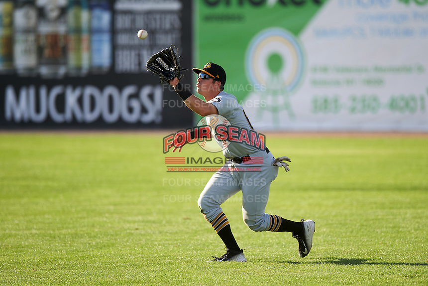 West Virginia Black Bears right fielder Kevin Krause (62) catches a fly ball during a game against the Batavia Muckdogs on August 21, 2016 at Dwyer Stadium in Batavia, New York.  West Virginia defeated Batavia 6-5.  (Mike Janes/Four Seam Images)