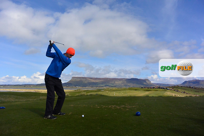 Sean Flanagan (Co. Sligo) on the 9th tee during Match Play Round 3 of the West of Ireland Amateur Open Championship at the Co. Sligo Golf Club in Rosses Point on Monday 28th March 2016.<br /> Picture:  Golffile / Thos Caffrey