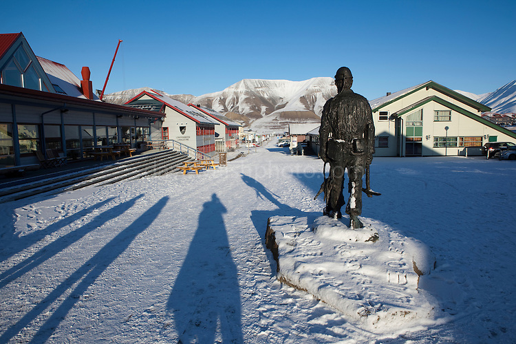 Statue of a coal miner, Longyearbyen, Svalbard. Coal mining was the basis for the creation of Longyearbyen, 1300km from the North Pole. Now the remains are left as historic reminders of the past, while coal mines elsewhere in Spitsbergen are now the main focus.