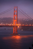 USA, California, San Francisco, a night shot of the Golden Gate Bridge taken from the Marin Headlands